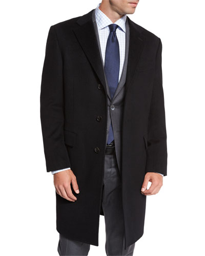 Classic Cashmere Single-Breasted Topcoat, Black