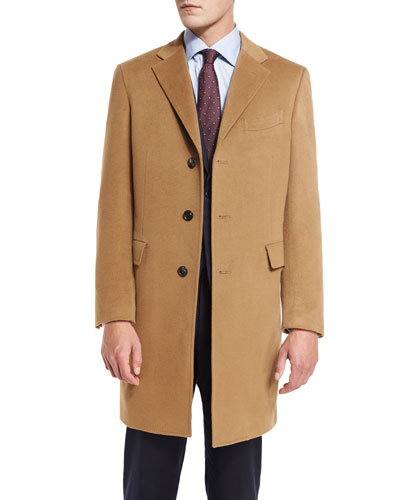 Classic Cashmere Single-Breasted Topcoat, Camel
