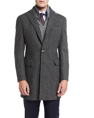 Herringbone Single-Breasted Topcoat, Gray