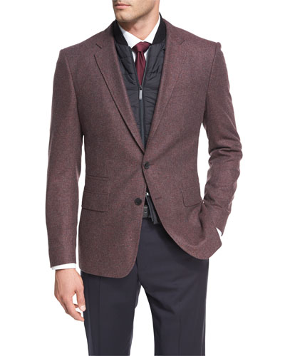 Hadwart Solid Flannel Two-Button Sport Coat with Vest, Burgundy