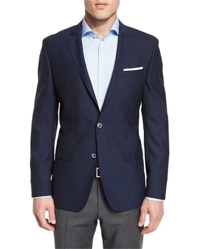Hutson Grid Two-Button Sport Coat, Bright Blue/Navy