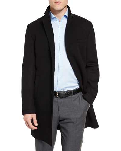 Shawn Single-Breasted Top Coat, Black