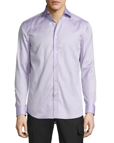 Mini-Houndstooth Sport Shirt, Purple