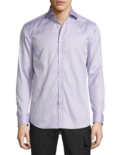 Mini-Houndstooth Sport Shirt, Purple