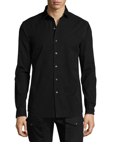 Denim Button-Front Shirt, Black