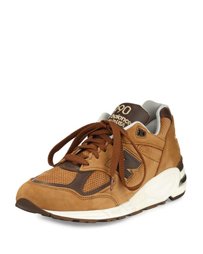 Men's 990v2 Suede & Leather Sneaker, Brown/White