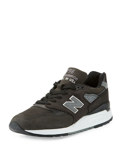 Men's 998 Made in USA Leather Sneaker, Black/Gray
