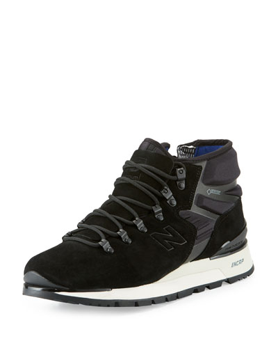 Men's Niobium Suede & Neoprene Mid-Top Sneaker, Black