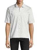 Grosgrain-Collar Short-Sleeve Shirt
