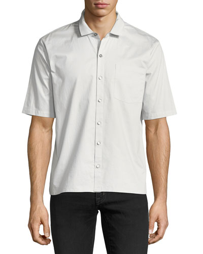 Grosgrain-Collar Short-Sleeve Shirt