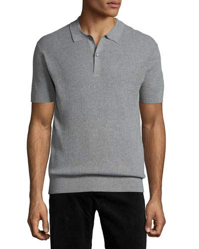 Short-Sleeve Knit Polo Shirt, Gray