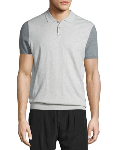 Colorblock Knit Polo Shirt, Cement