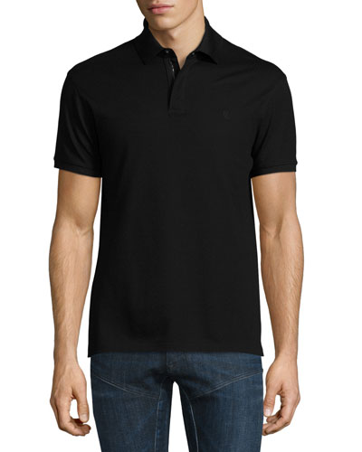Snap/Zip Pique Polo Shirt, Black