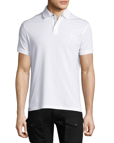 Front-Zip Pique Polo Shirt, White