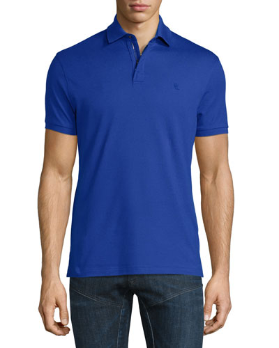 Snap/Zip Pique Polo Shirt, Cobalt Blue