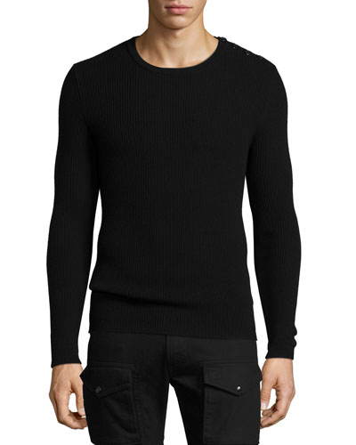 Ribbed Cashmere Button-Shoulder Sweater, Black