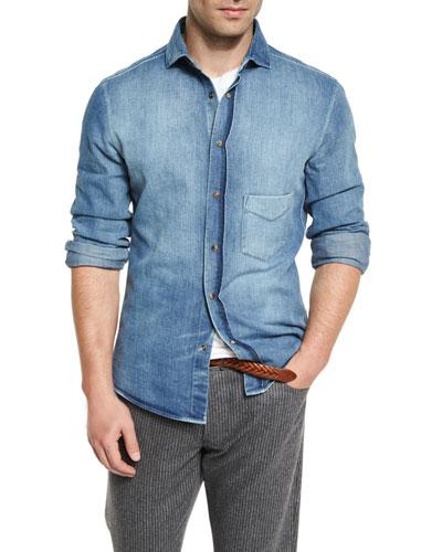 Light-Wash Long-Sleeve Denim Shirt