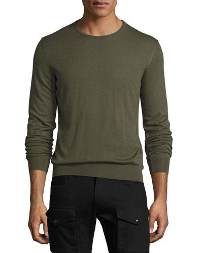 Cashmere Crewneck Sweater, Olive