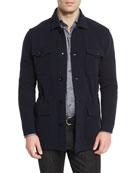 Wool/Cashmere-Blend Jersey Field Jacket, Navy