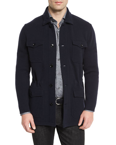 Wool/Cashmere-Blend Jersey Field Jacket, Navy