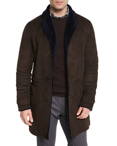 Mid-Length Sartorial Suede Coat w/Shearling Lining, Brown
