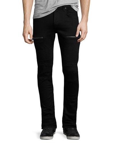 Acrux Skinny-Fit Moto Jeans, Black
