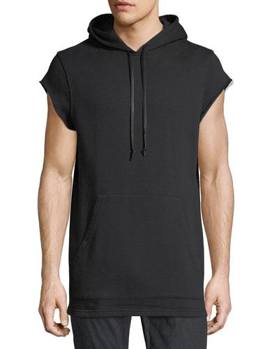 Cutoff-Sleeve Pullover Hoodie