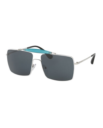 Metal & Enamel Square Sunglasses, White