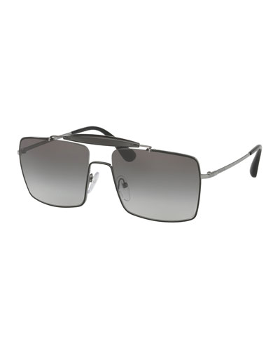 Metal & Enamel Square Sunglasses, Black