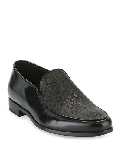 Saffiano Leather Venetian Loafer, Black