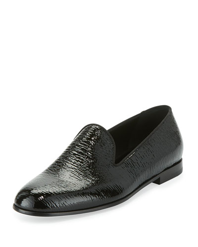 Shark-Texture Patent Leather Loafer, Black