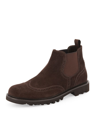 Suede Wing-Tip Chelsea Boot, Brown