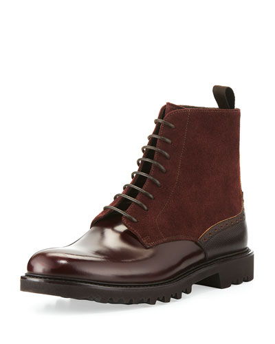 Suede & Leather Lace-Up Boot, Burgundy