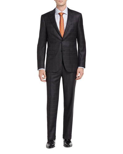 Check Wool Two-Piece Suit, Charcoal