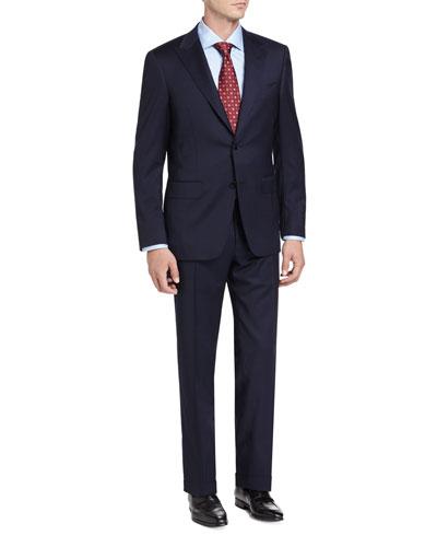 Tonal Stripe Wool Two-Piece Suit, Navy