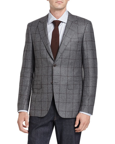 Windowpane Two-Button Sport Coat, Gray/Brown
