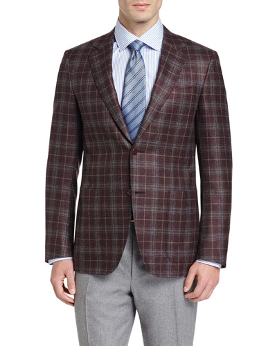 Plaid Two-Button Sport Coat, Burgundy/Gray