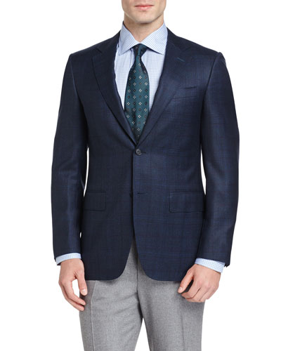 Plaid Wool Two-Button Sport Coat, Navy/Aqua
