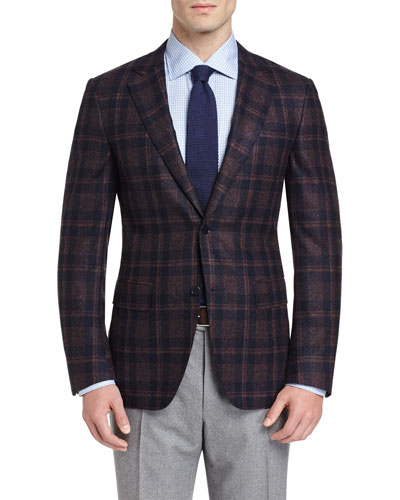 Plaid Two-Button Sport Coat, Plum/Navy