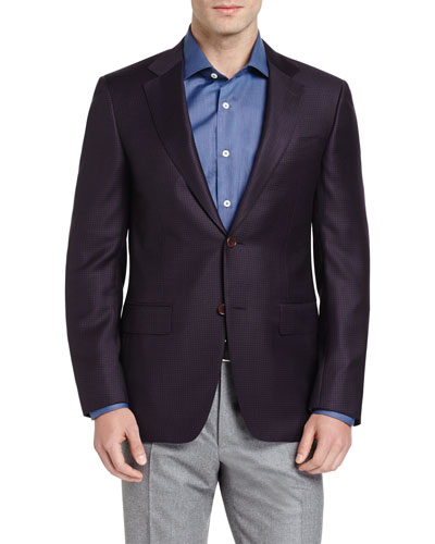 Houndstooth Two-Button Sport Coat, Burgundy/Navy