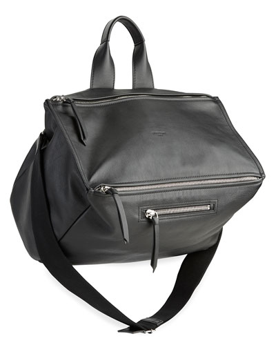 Men's Pandora Leather Crossbody Bag, Black