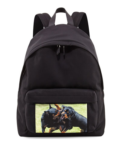Fighting Rottweiler Canvas Backpack, Black
