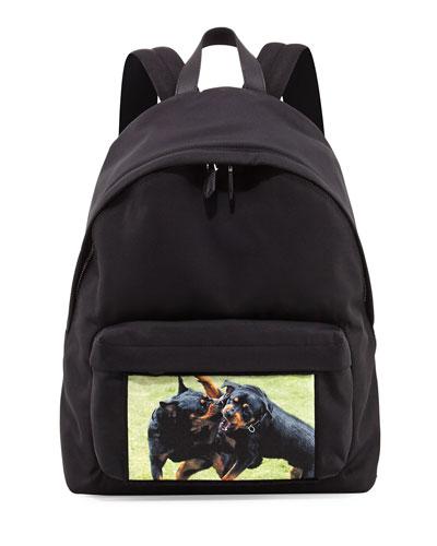 Fighting Rottweiler Canvas Backpack, Black