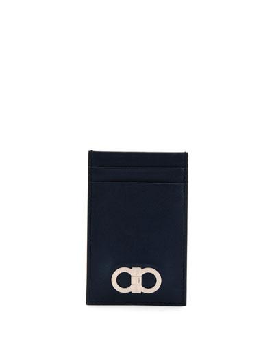 Double-Gancio Flat Card Case, Blue