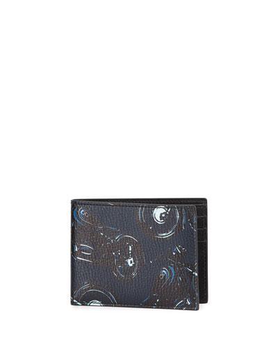 Capsule Now Motorcycle Bi-Fold Leather Wallet, Deep Blue/Black