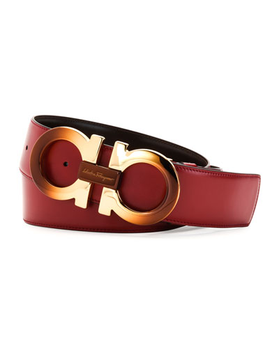 Degrade Large-Gancini Buckle Belt, Rubino/Hickory