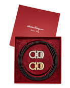 Reversible Leather Gancini Belt Boxed Gift Set