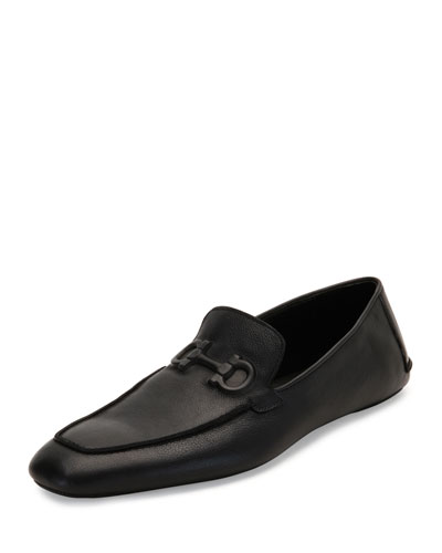 Textured Calfskin Gancini House Slipper, Black