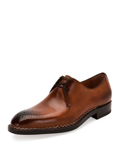 Tramezza Special Edition Medallion-Toe Oxford Shoe, Brown