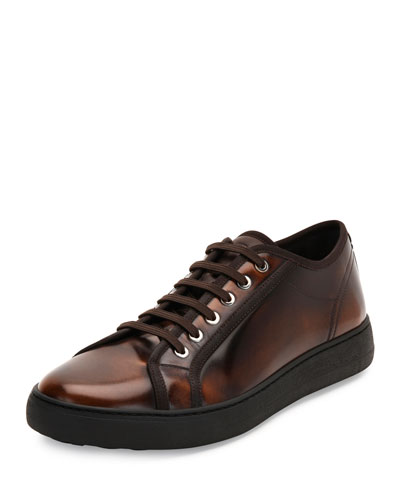 Fulton Burnished Calfskin Low-Top Sneaker, Brown